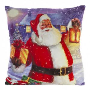 Dekorativní vánoční povlak na polštář s motivem Santa Clause 40 x 40 cm