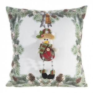 Dekorativní vánoční povlak na polštář se sněhulákem 40 x 40 cm