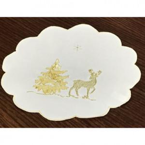 Kulaté vánoční prostírání bílo zlaté
