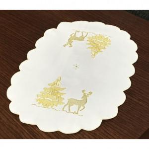 Oválné vánoční prostírání bílo zlaté