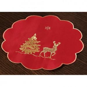 Kulaté vánoční prostírání červeno zlaté