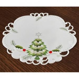 Kulaté vánoční prostírání bílo zelené