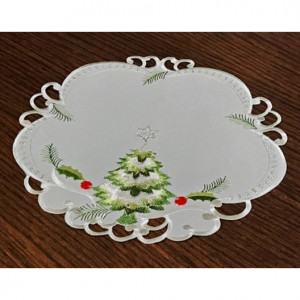 Kulaté vánoční prostírání bílé barvy