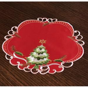 Vánoční prostírání červené barvy se stromečkem