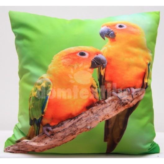 Zelená povlak na polštáře s oranžovými papoušky