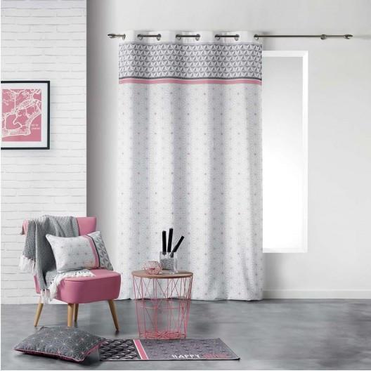 Šedě růžové dekorační závěsy do obývacího pokoje 140 x 260 cm