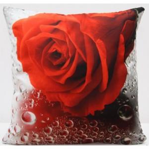 Povlak na polštář s motivem červené růže