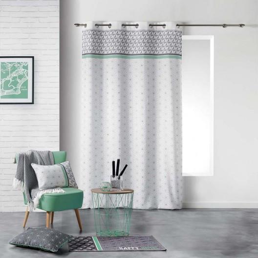 Skandinávské závěsy šedé barvy s mentolovým proužkem 140 x 280 cm