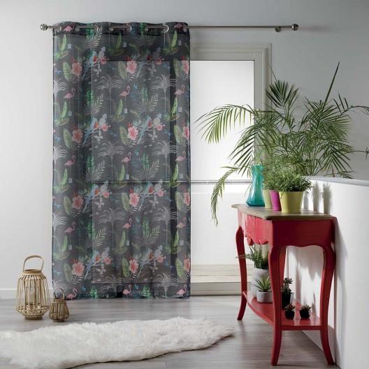 Záclona šedé barvy s letní potiskem PARADIZIO 140 x 280 cm