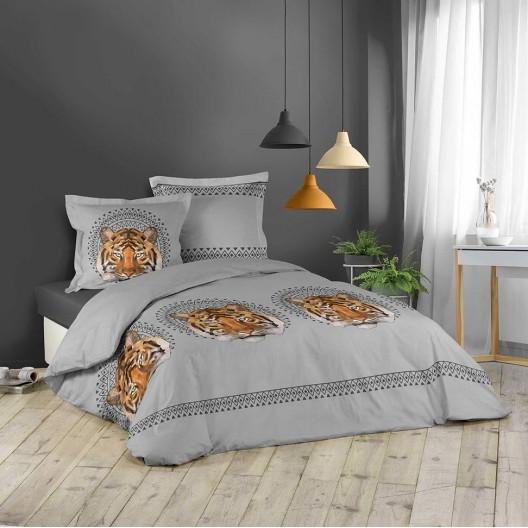 Bavlněné povlečení na postel šedé barvy s tygrem ječení 200 x 200 cm