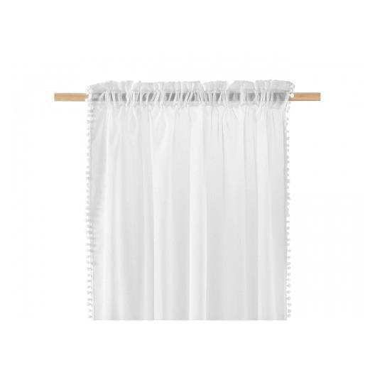 Krásná spadající, bílá záclona s kuličkami 140 x 280 cm