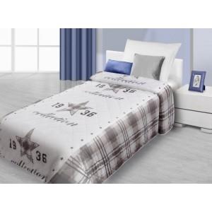 Bílo hnědé přehozy na postel s motivem roku 1936