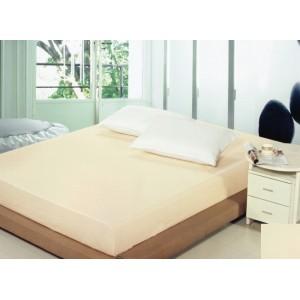 Bavlněné napínací prostěradla krémové barvy na postele