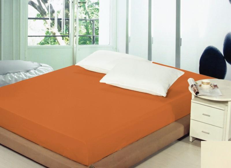 Tmavě oranžové prostěradlo na postel s gumičkou