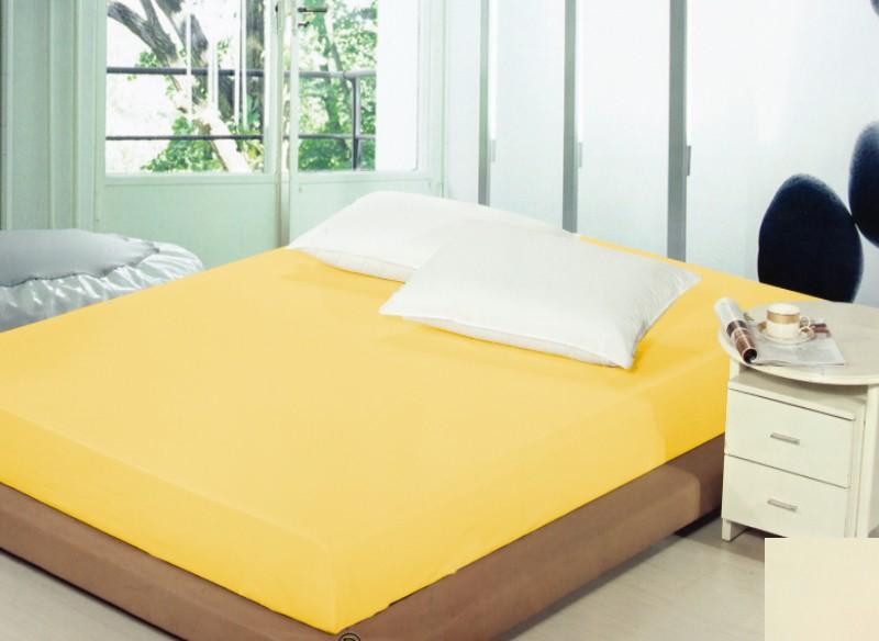 Bavlněné žluté prostěradlo na postel