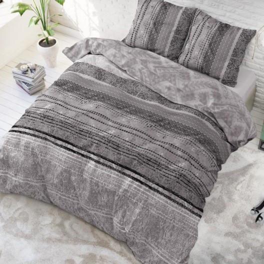 Luxusní vzorované povlečení šedé barvy 200 x 220 cm