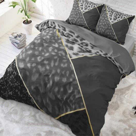Luxusní černé povlečení s leopardím vzorem 140 x 200 cm