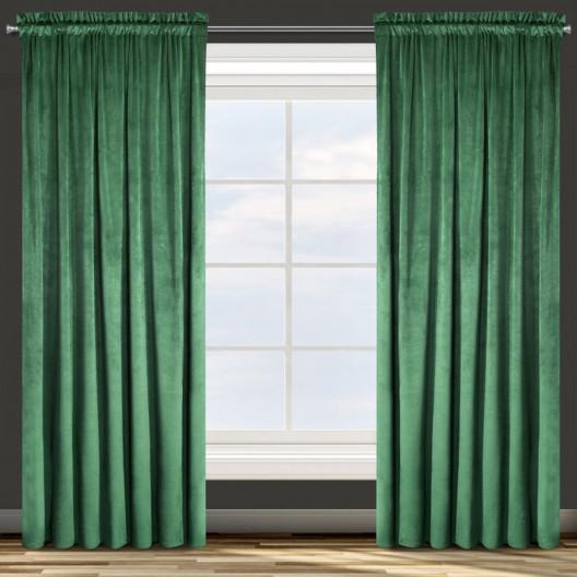 Dekorační jednobarevný závěs zelené barvy ze sametové látky