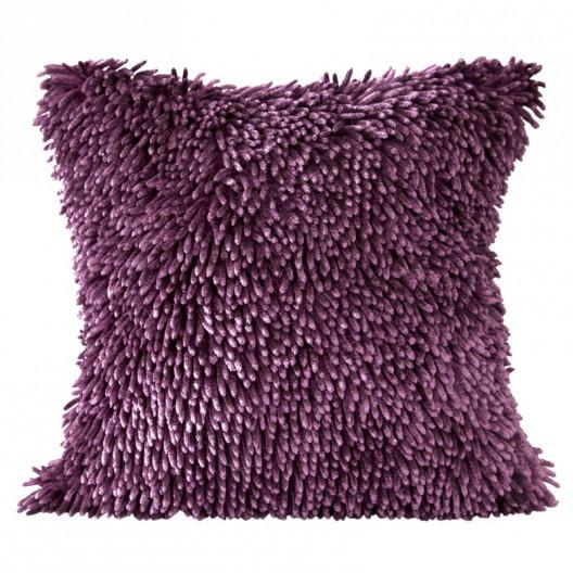 Třásňová povlak na polštář fialové barvy
