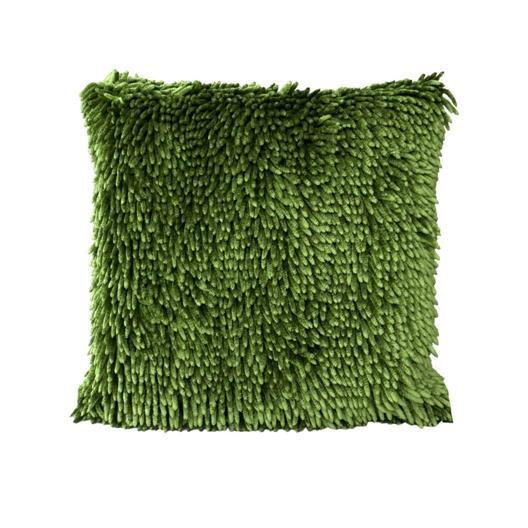 Třásňová povlak na polštář olivově zelené barvy