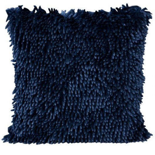 Třásňová povlak na polštář tmavě modré barvy