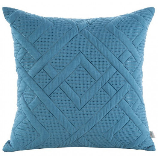 Modrá prošívaná povlak na polštář k přehozu