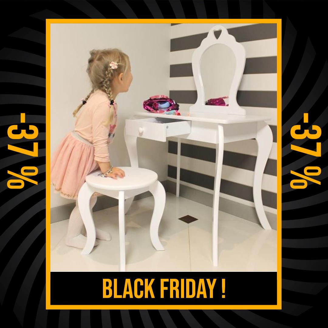 Moderní dětský toaletní stolek v bílé barvě Black Friday