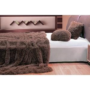 Chlupaté plyšové deky, přehozy v hnědé barvě 150 x 200 cm