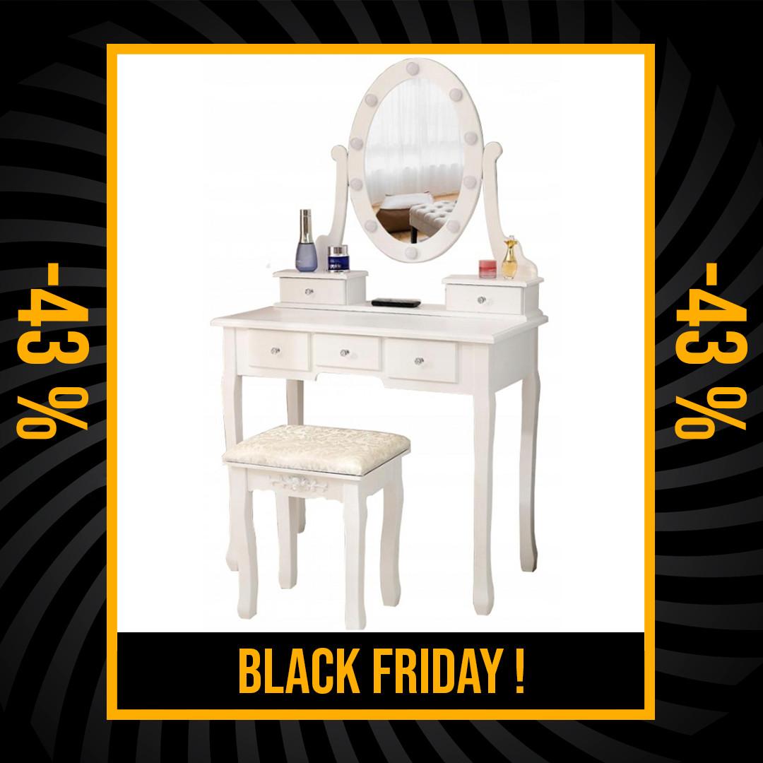 Luxusní bílý toaletní stolek s osvětlením a taburetkou Black Friday