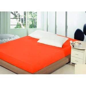 Bavlněné napínací prostěradla oranžové barvy na postele
