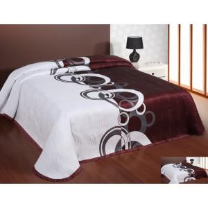 Moderní a luxusní oboustranný přehoz na postel bordový s bílými vzory