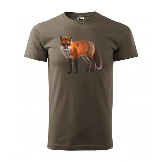 Lovecké pánské bavlněné tričko s originálním potiskem lišky