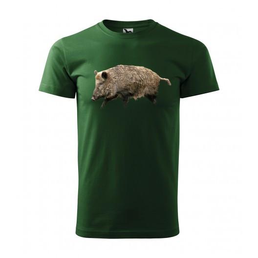 Originální pánské bavlněné tričko pro myslivce s potiskem divočáka