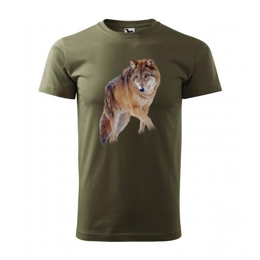 Bavlněné lovecké pánské tričko s kvalitním potiskem vlka