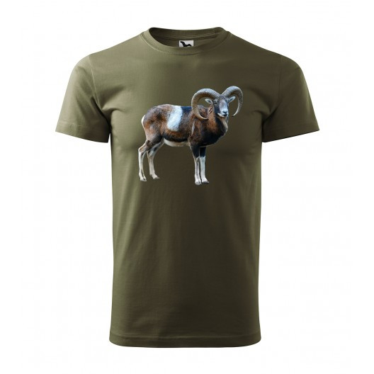 Bavlněné pánské tričko s potiskem muflona