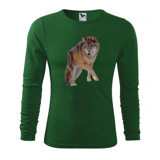 Pánské lovecké tričko s kvalitním potiskem vlka s dlouhým rukávem