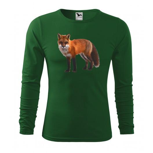 Lovecké bavlněné tričko s potiskem lišky s dlouhým rukávem