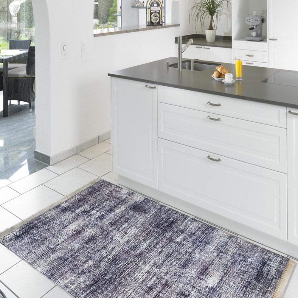 Tmavě šedý běhoun do kuchyně s protiskluzovou úpravou