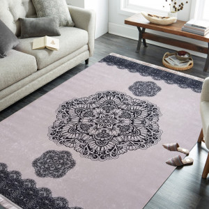 Pudrový koberec se vzorem mandaly
