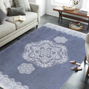 Šedý koberec se vzorem mandaly