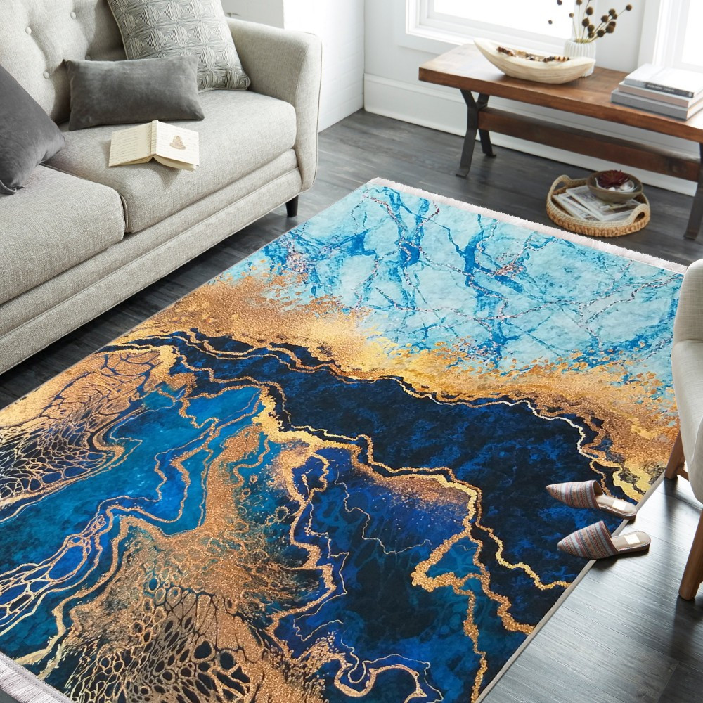 Protiskluzový koberec s abstraktním vzorem modrý
