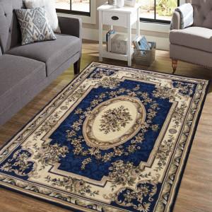 Vintage koberec v krásné tmavěmodré barvě