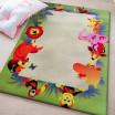 Zeleno béžový koberec se zvířátky do dětského pokoje