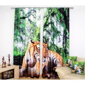 Levné závěsy zeleno béžové barvy s tygrem