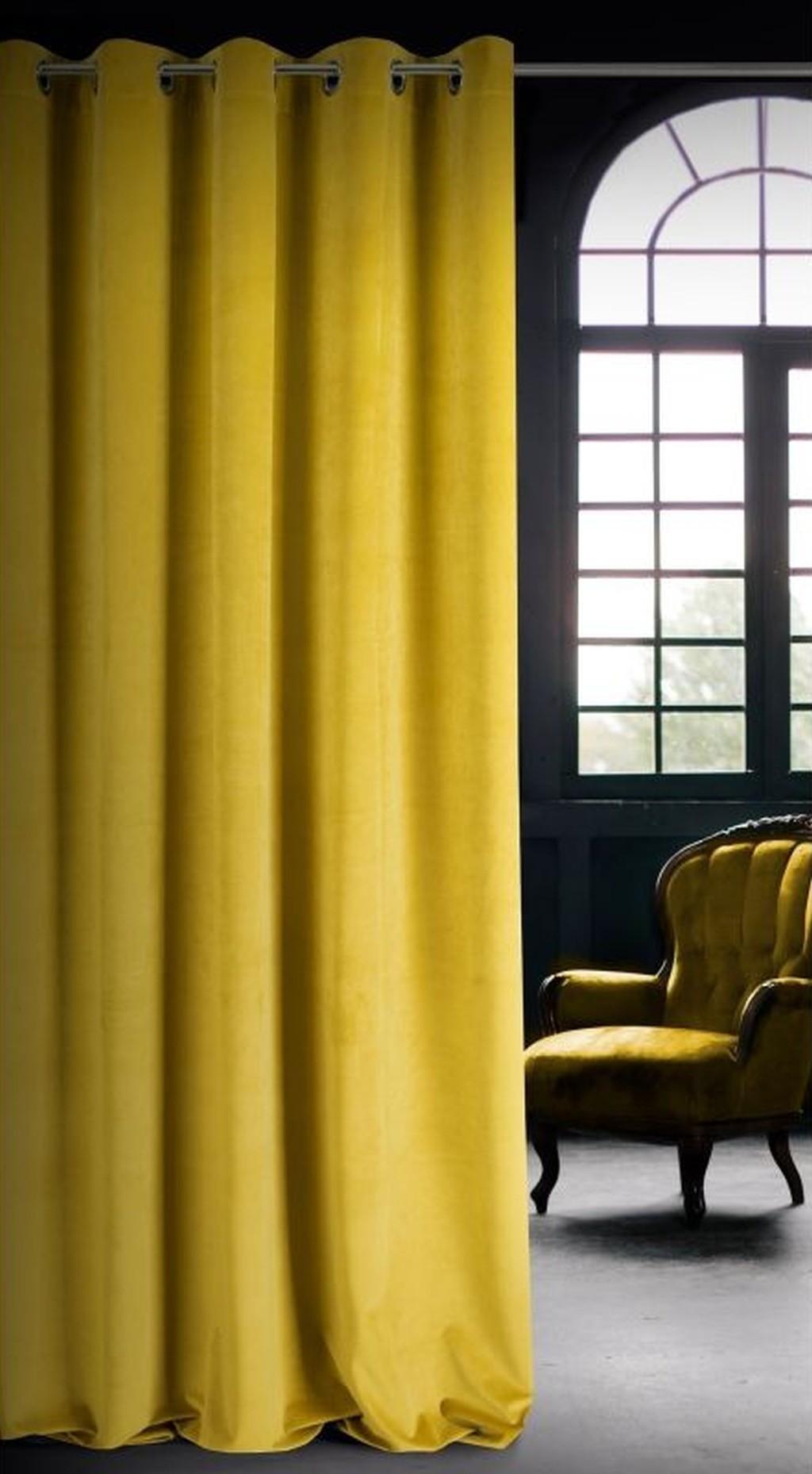 Jednobarevné žluté závěsy