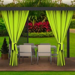 Krásné letní limetkově zelené závěsy do zahradního altánku