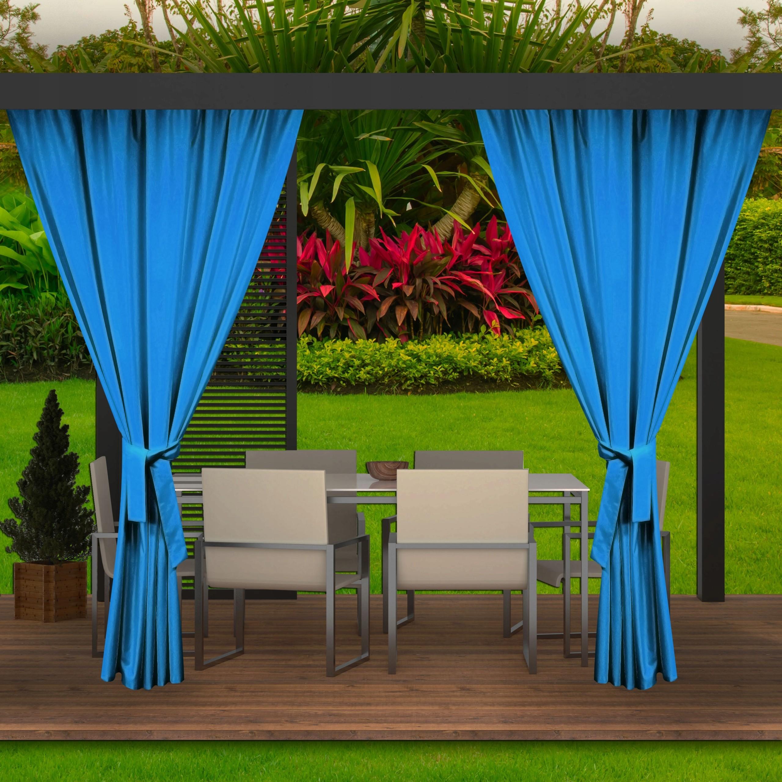 Luxusní exteriérové modré závěsy do zahradního altánku