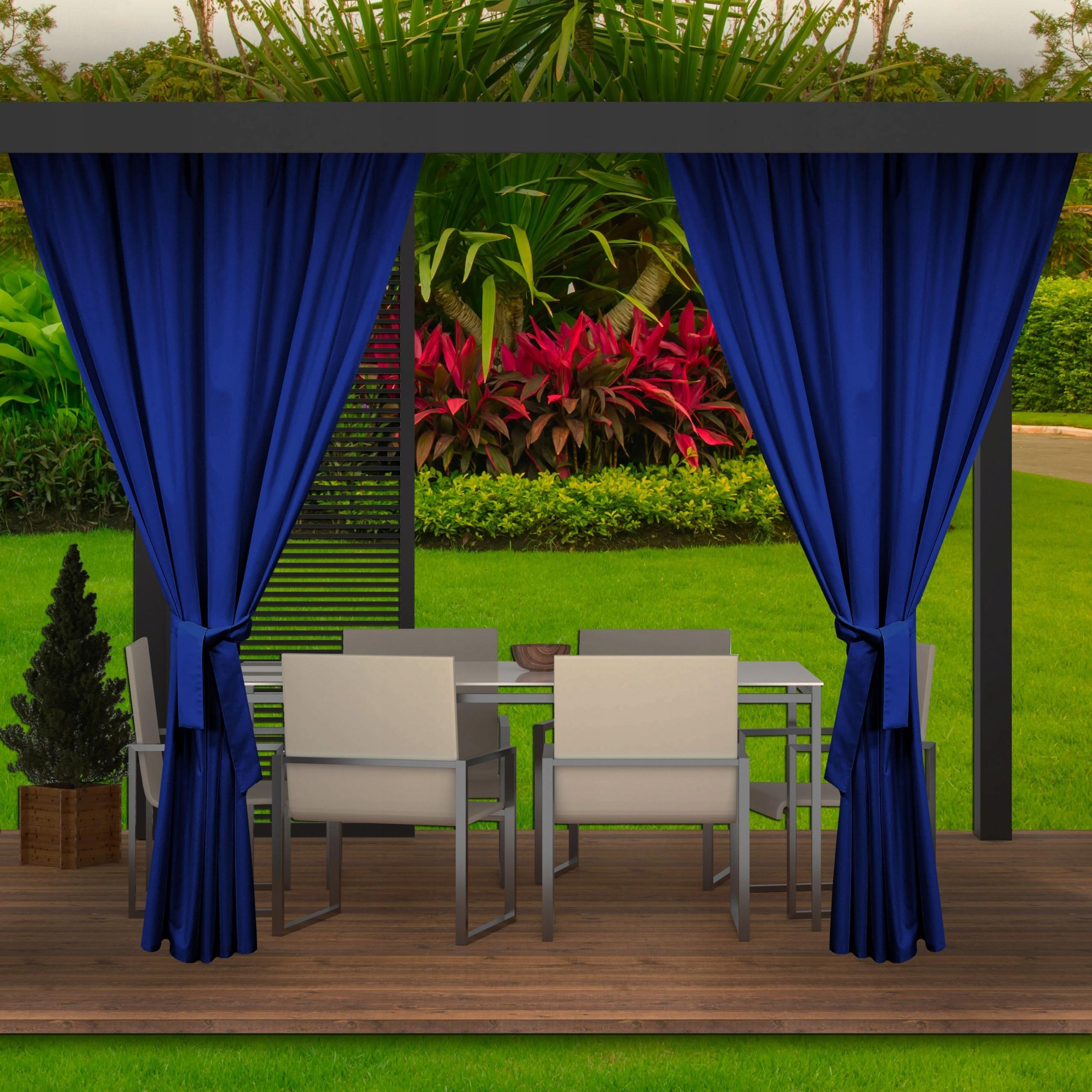 Tmavě modrý voděodolný závěs do zahradního altánku