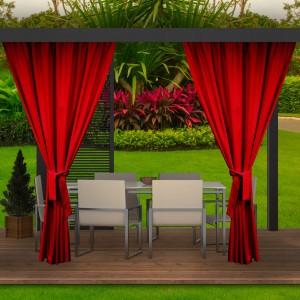 Krásný červený zahradní závěs do altánku