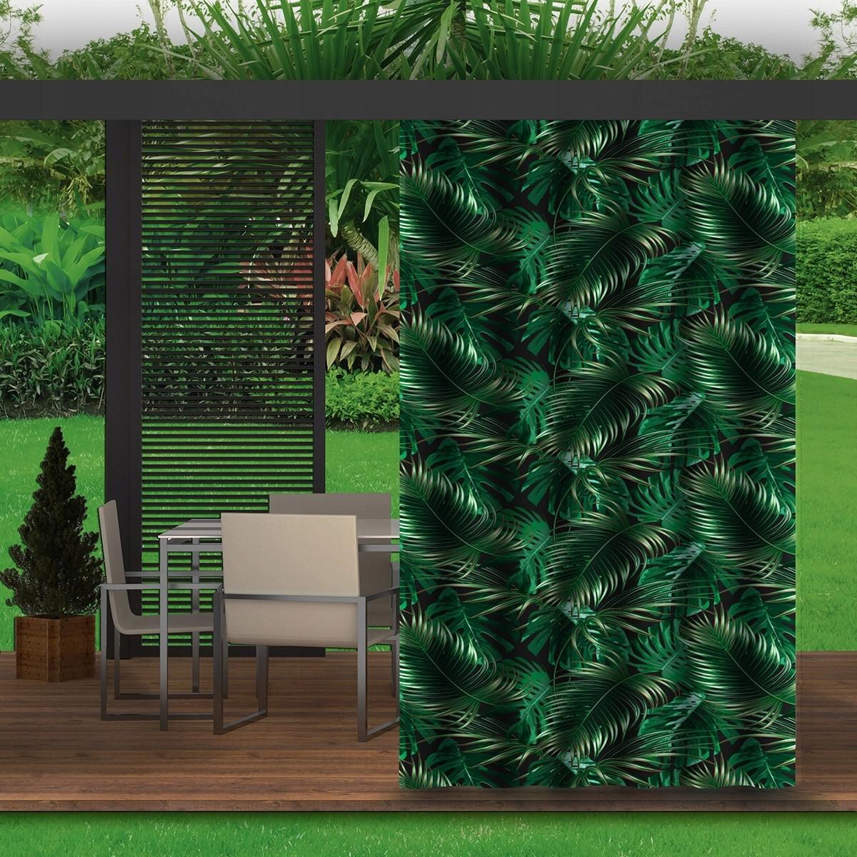 Zelený závěs do zahradního altánku s motivem listů